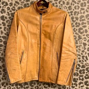 Vintage 100% thick leather Moto jacket, tan